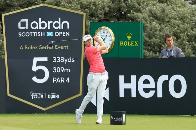 Matthew Fitzpatrick of England tees off on the 5th hole during Day Three of the abrdn Scottish Open at The Renaissance Club on July 10, 2021 in North Berwick, Scotland. (Photo by Andrew Redington/Getty Images)