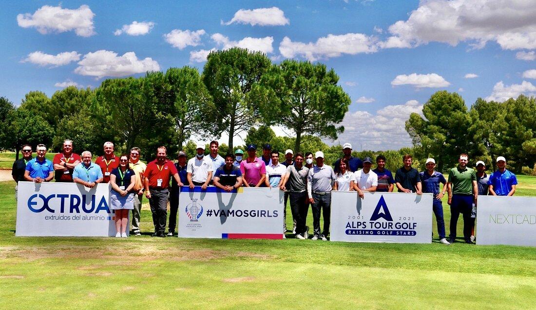 Jugadores, Alps Tour y representantes de las Federaciones de Castilla La Mancha y Castilla León muestran su apoyo a la Solheim Cup 2023.