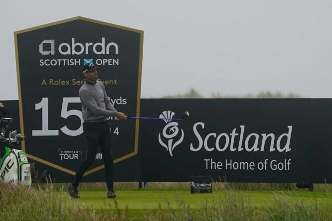 Álvaro Quirós durante la segunda jornada del Open de Escocia. © Golffile   Thos Caffrey
